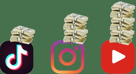 youtube, instagram, Tik-Tok, деньги