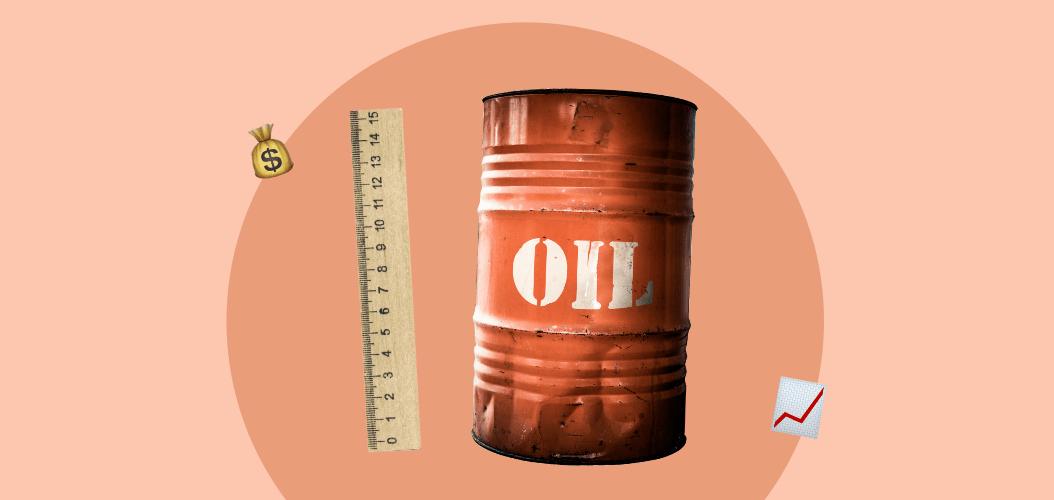 бочка нефти, линейка, деньги. рост