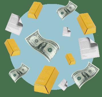 Акции, деньги, золотые слитки