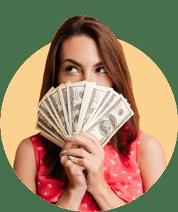 девушка с кучей денег