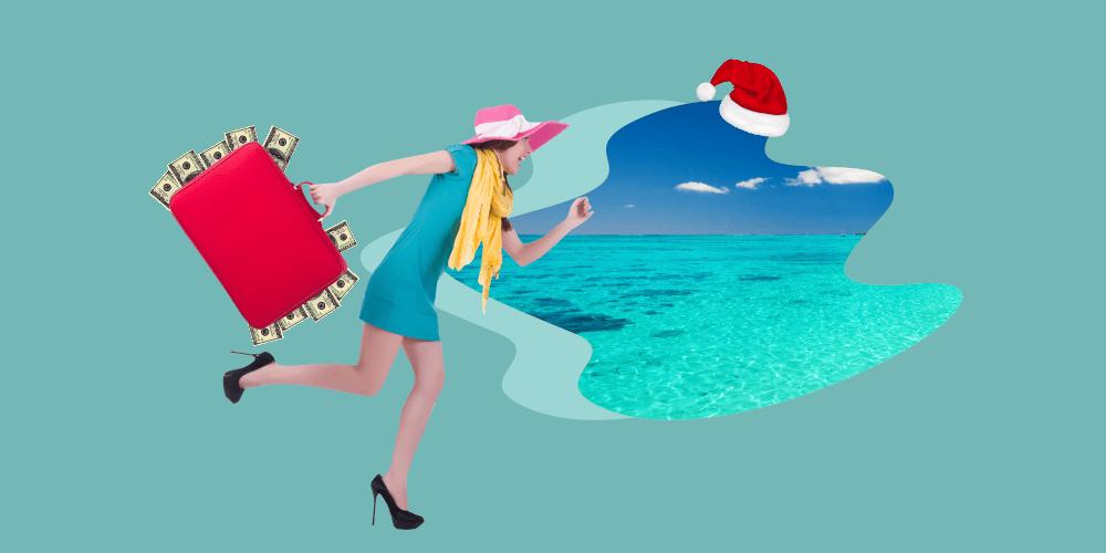 девушка, новогодние каникулы, чемодан, деньги