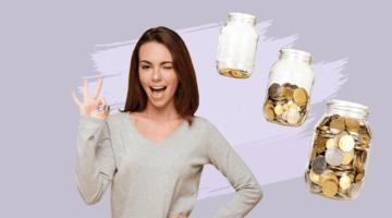 девушка, банки с деньгами, финансовые привычки