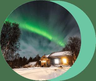 Северное сияние в зимней Карелии