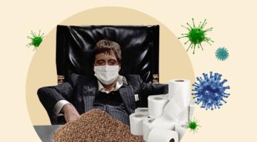 Короновирус, маски гречка туалетная бумага