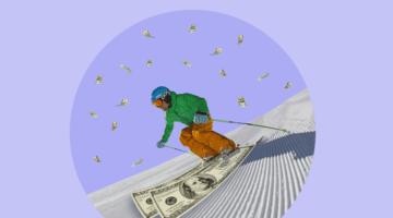 лыжи деньги, горы