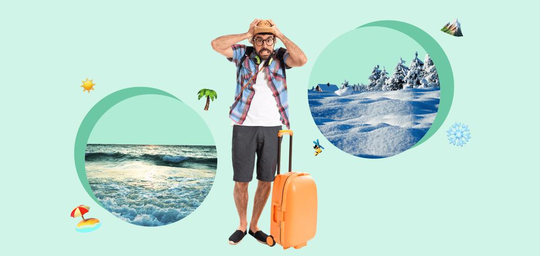 мужчина чемодан горы снег пальмы пляж