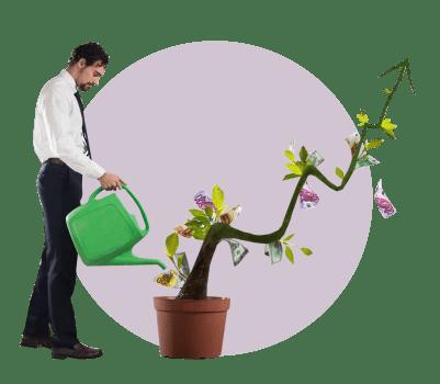 мужчина дерево деньги