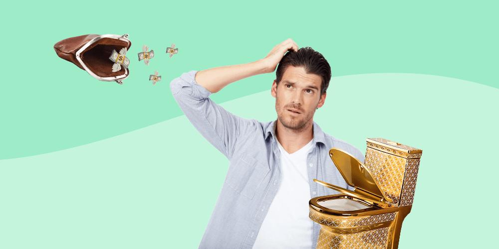 мужчина, кошелек, деньги, золотой унитаз