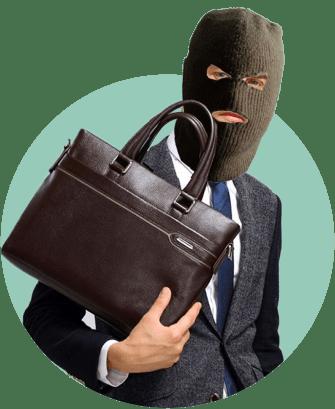 мужчина портфель вор маска
