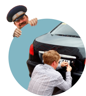 Инспектор ГИБДД, смена номеров