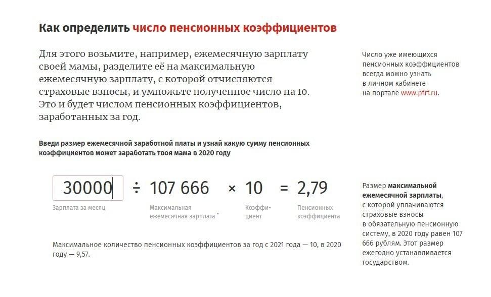 число пенсионных коэффициентов