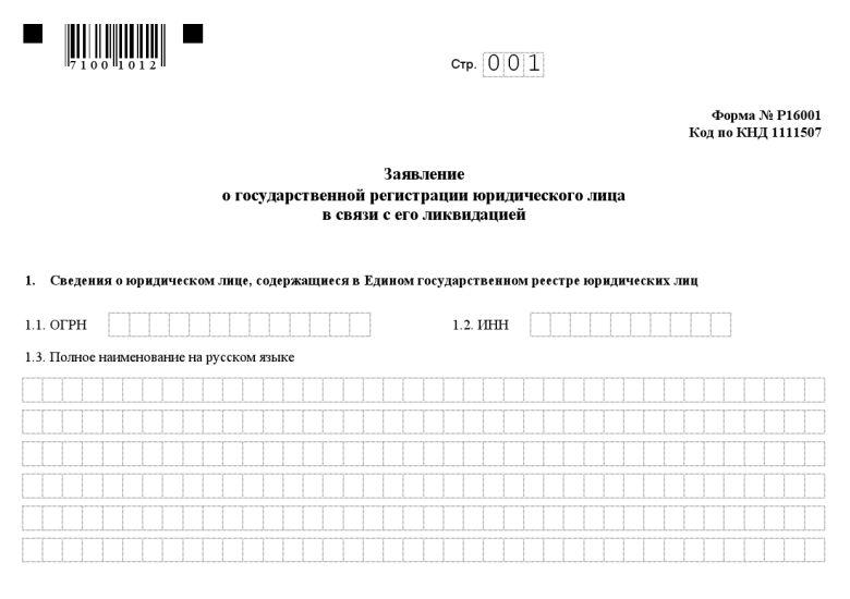 форма N Р16001