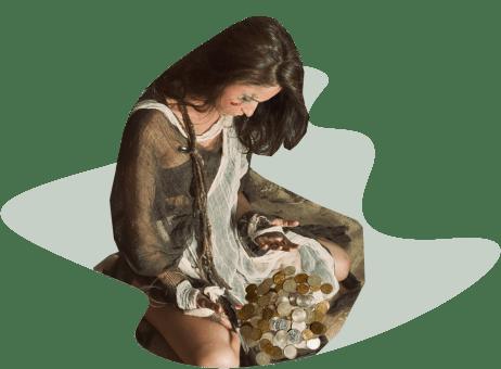 девушка-рабыня, монеты