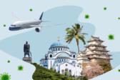 самолет, Сербия, Япония, пальма, Куба