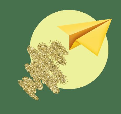 золотой бумажный самолетик, летящий вверх