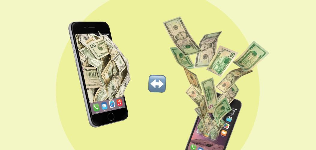 телефон, деньги, обмен