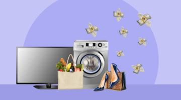 телевизор стиральная машина туфельки продукты деньги летят