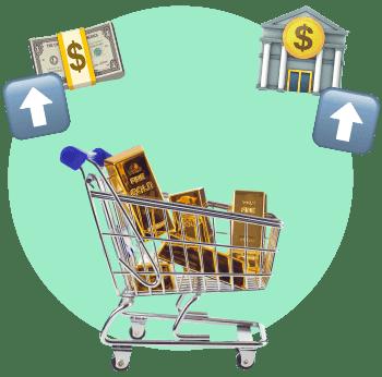 тележка золота банк деньги
