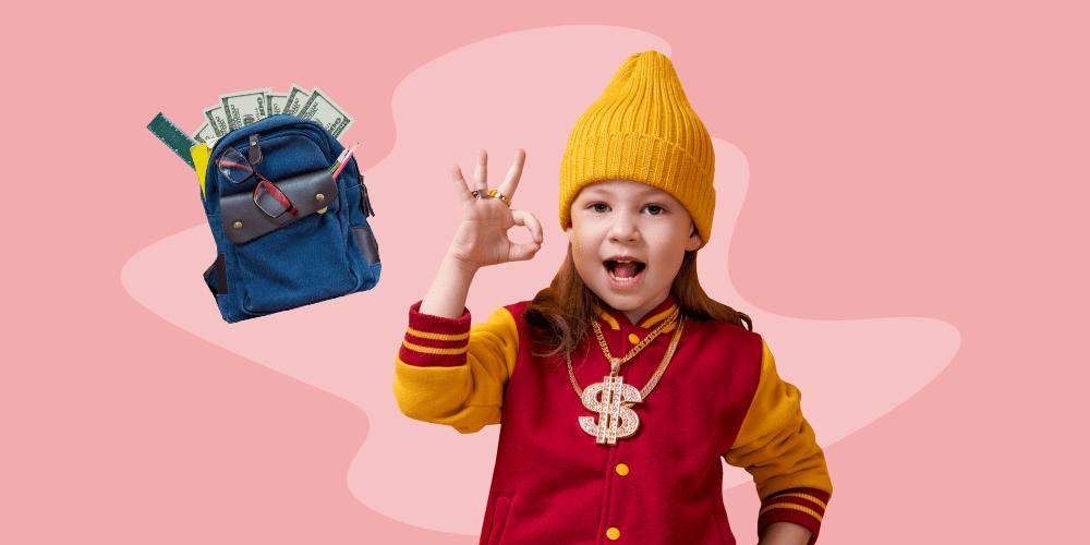 девочка, деньги, школьница, богатая, рюкзак