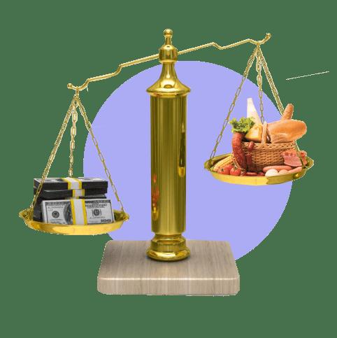 весы деньги еда