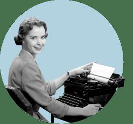 девушка, печатная машинка