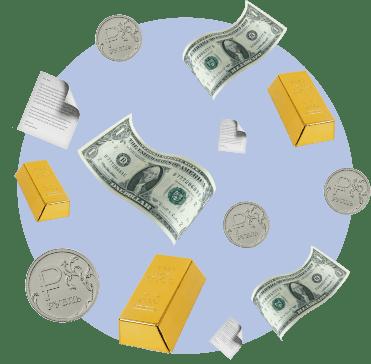 ценные бумаги, слитки золота, монеты, купюры