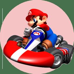 Марио за рулем гоночной машины