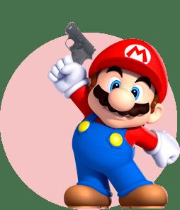Марио держит стартовый пистолет