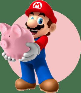 Марио держит в руках копилку