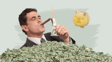 миллионер, сигара, деньги копилка