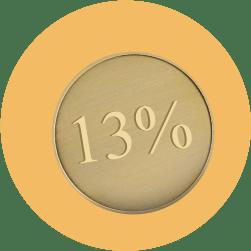 """золотая монета номиналом """"13 процентов"""""""