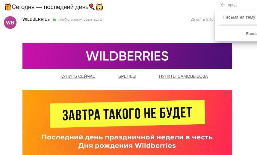 рассылка, Wildberries