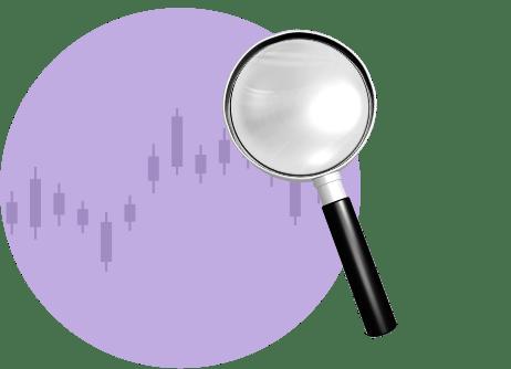 Лупа на биржевом свечном графике
