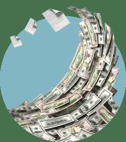 волна из денег бумага