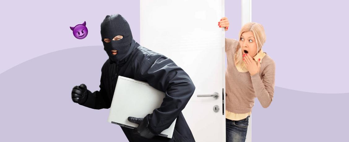 Вор крадет ноутбук у девушки