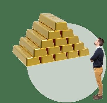 пирамида из золота, мужчина