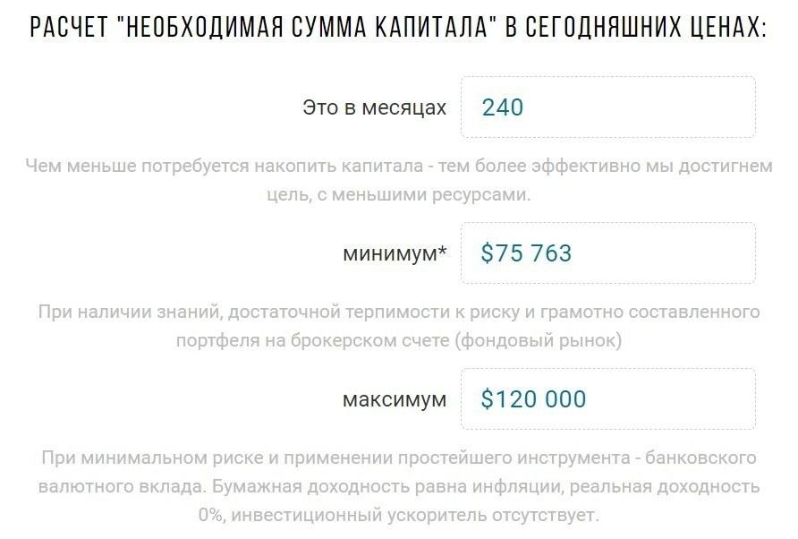 Расчет капитала для получения пассивного дохода