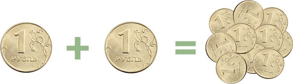 Вход — рубль, выход — два